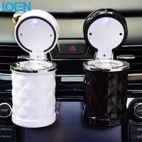 LOEN Car Auto Ashtray Blue LED Light Smokeless Ashtray Cigarette Holder Anti-slip Rubber Botton Cup Holder Universal