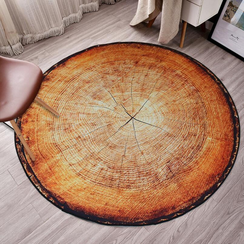 New Nordic Style Round Carpet Wood Grain Annual Personality Creative Coffee Table Bedroom Computer Chair Non-slip Mat Home Decor