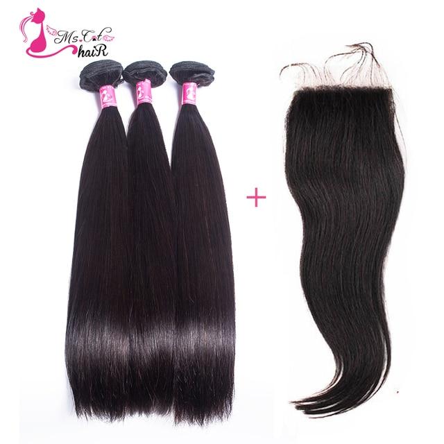 "7a unprocessed peruvian virgin hair with closure 8""-26"" natural black 3 bundles with closure 100% peruvian human hair closure"