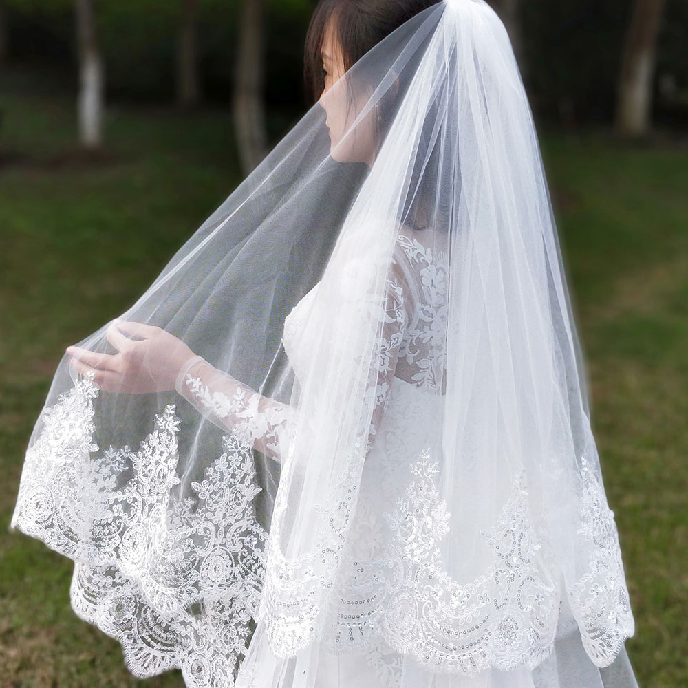 Real Photos 2 Layers Sequins Lace 3 Meters Cathedral Woodland Wedding Veils with Comb 3M Long White Ivory 2 T Bridal Veils 3