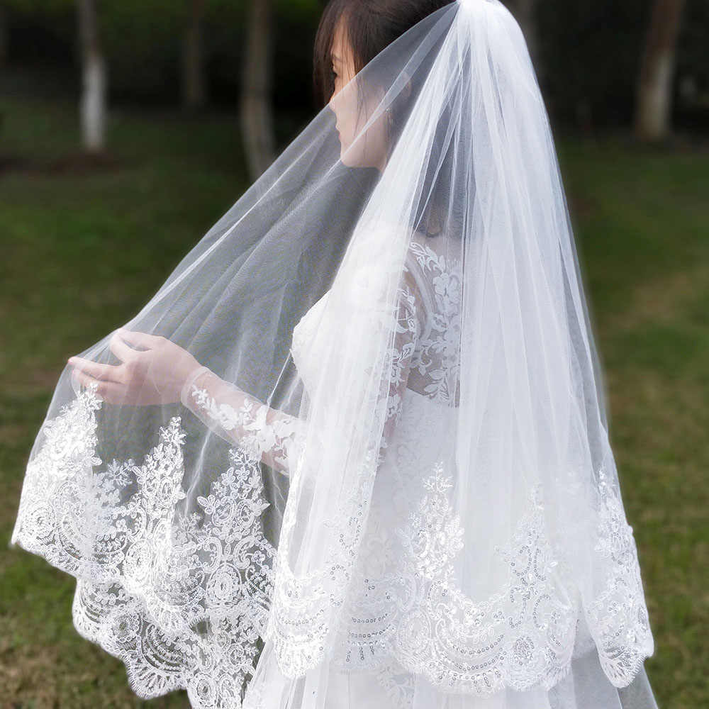 2019 Real Photos 2 Layers Sequins Lace 3 Meters Cathedral Woodland Wedding Veils with Comb 3M Long White Ivory 2 T Bridal Veils