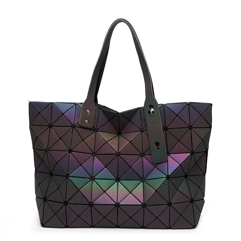 Luminosa Saco bao Tote Diamante Geométrica Acolchoado Sacos de Ombro sac A Laser Simples Dobrar Bolsas de bolso