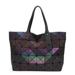 Luminous sac bao Bag Diamond Tote Geometric Quilted Shoulder Bags Laser Plain Folding Handbags bolso