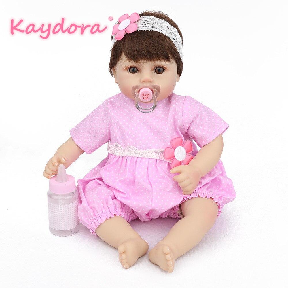 Bebes تولد من جديد الطفل سيليكون 17 بوصة 40 سنتيمتر الوردي اليدوية تولد من جديد بيبي Bowknot التعليمية جميل الأزياء الطفل دمية لول لعبة KAYDORA-في الدمى من الألعاب والهوايات على  مجموعة 1