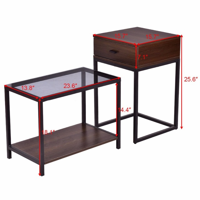 Goplus 2PCS Set Nesting Modern Coffee Side Table Wood Portable End Table Metal Frame Glass Top Coffee Tables with Drawer HW56083 2