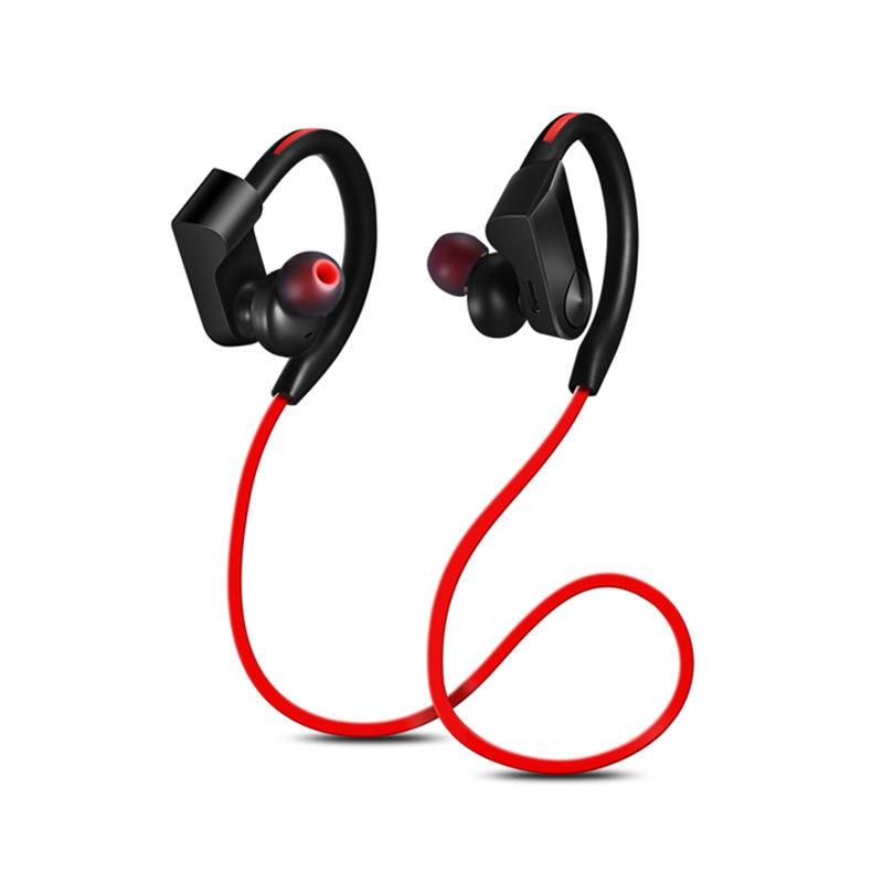 Sport Bluetooth Headphone Wireless Earphones Waterproof Audifonos Bluetooth Earphone Stereo Bass Headset With Mic(Black + Red)