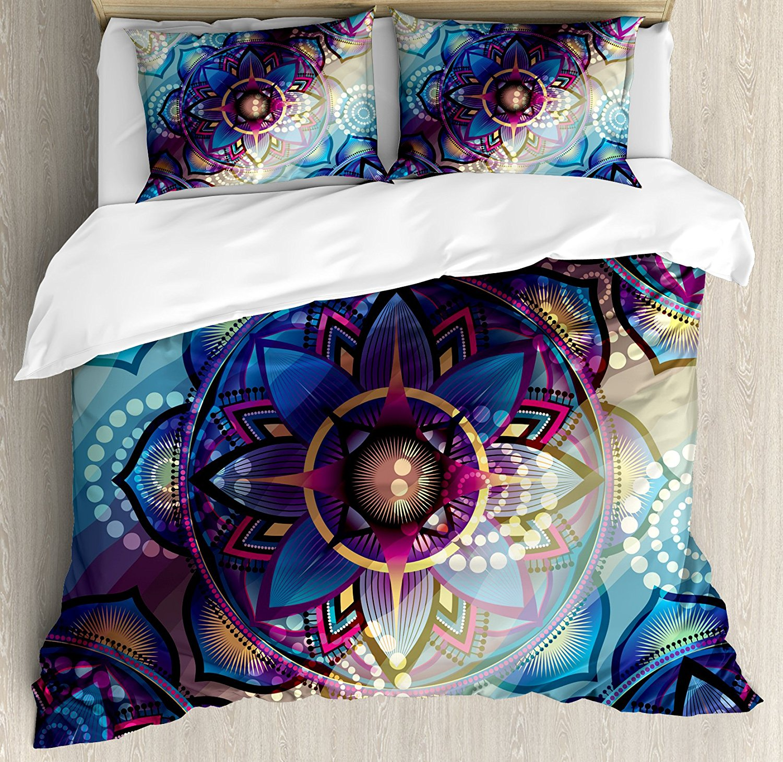 Lotus Duvet Cover Set Gradient Diagonal Mystic Symbols Geometric Alchemy Trippy Ethnic Motif with Ornaments 4