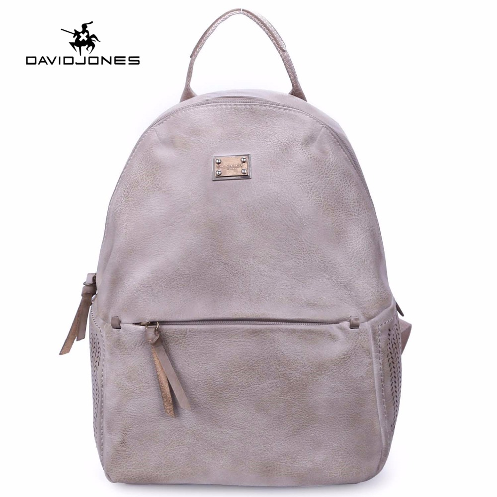 DAVIDJONES women hollow out backpack femal PU vintage shoulder bags girls students school bag