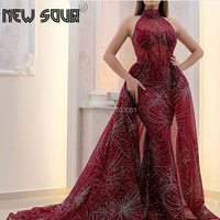 Sparkly Wine Red Evening Dresses Detachable Skirt Custom Made Long Dubai Formal Prom Dress 2019 Arabic Party Gown Robe De Soiree