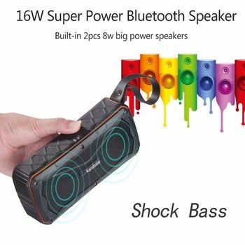 16W Heavy Bass Waterproof Outdoor Bluetooth Speaker 4500mAH Power Bank Portable 3D Stereo Wireless Riding Sport Speaker TF Mic