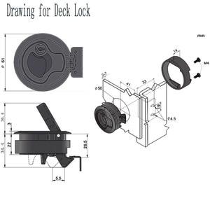 Image 2 - 2 PCS 2 Plastic Black Locking lift handle Flush Boat Latch Marine Boat Round Deck Lock with key for Boat Yacht RV Accessories