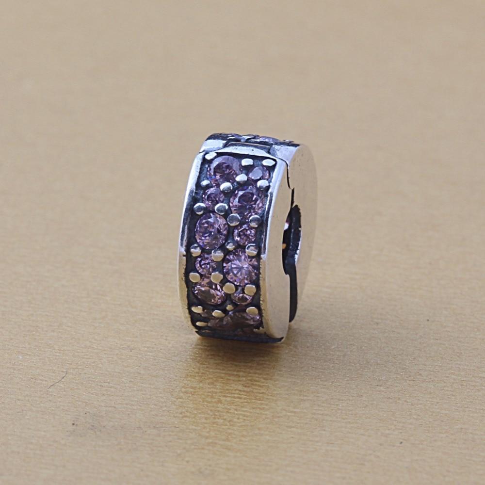 ZMZY NEW Spring Collection Shining Elegance Clip Beads Pink CZ Pave 925 Sterling Silver Lock Clip Fit Pandora Bracelets DIY