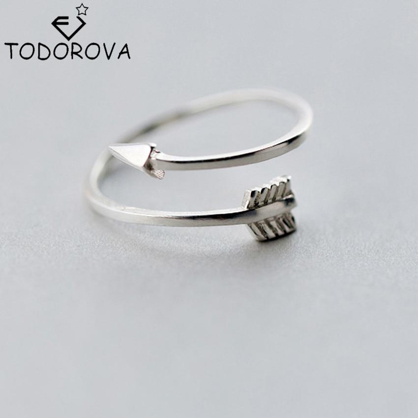 Todorova New Real Pure 925 Sterling Silver Smycken Plain Polerad Love Arrow Toe Ring För Kvinnor Present Öppna Justerbara Ringar
