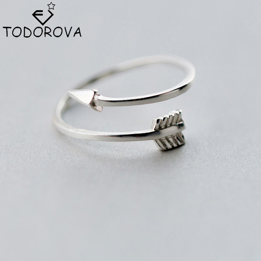 Todorova Baru Nyata Murni 925 Sterling Perhiasan Perak Polos Cinta Panah Toe Cincin untuk Wanita Hadiah Terbuka Cincin Adjustable