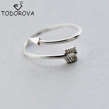Todorova New Real Pure 925 Sterling Silver Jewelry Plain Polished Love Arrow Toe Ring for Women Gift Open Adjustable Rings