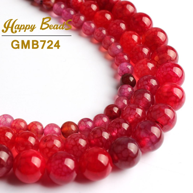 """Wholesale 6-8-10mm Dream Fire Dragon Veins Agate Gems Loose Beads Strands 14"""""""