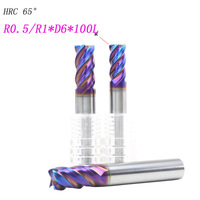Free Shipping 5pcs 6mm Hrc65 6R0 5 12 D6 100L Carbide 4 Flutes Corner Radius End