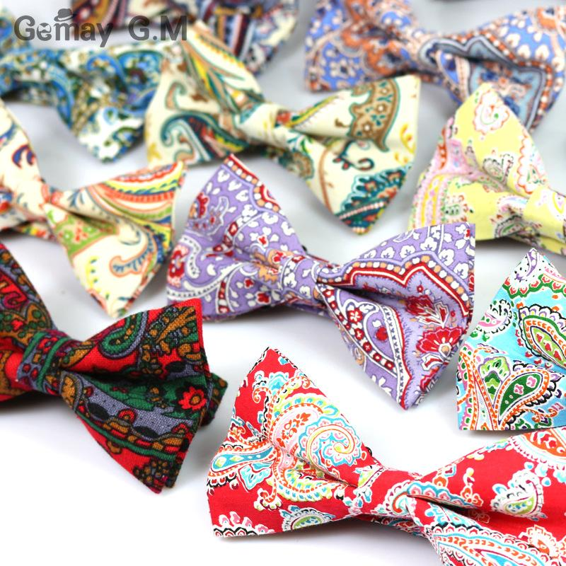 Fashion Cashew flower Printed Men Bowties Vintage Style 100% Cotton Bow ties for Man wedding party Groom bow tie Slim Gravatas