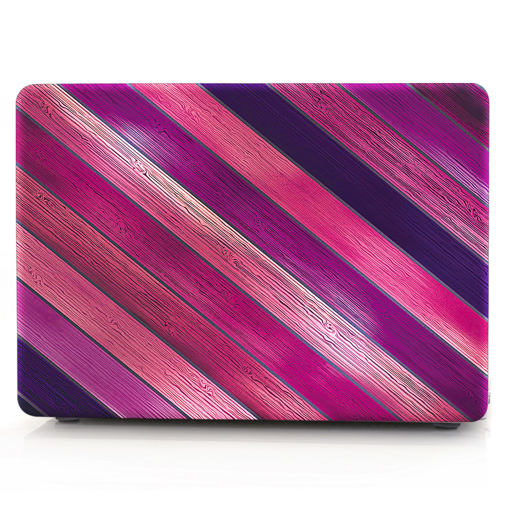 HRH Purple Twill Wood Grain Laptop Body Shell Protective Hard Case For MacBook Air 11 13 A1369/Pro 13 15 A1286/Pro Retina 12 1