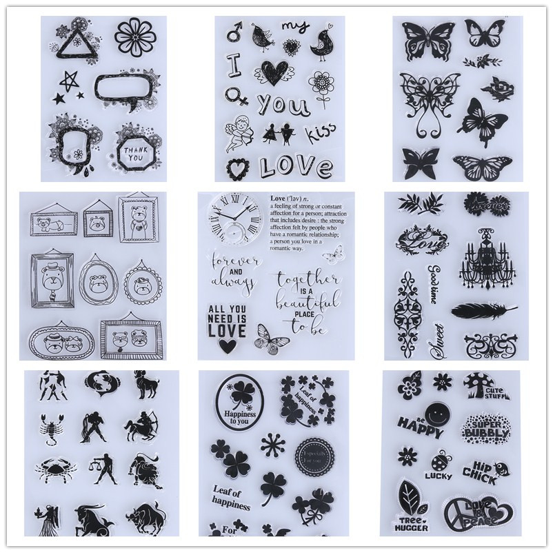 Bear Heart Flowers Transparent Clear Stamp DIY Silicone Seals Scrapbooking Card Making Photo Album Decoration Supplies Stamping lovely bear and star design clear transparent stamp rubber stamp for diy scrapbooking paper card photo album decor rm 037
