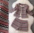2016 nova Primavera mulheres Xadrez conjunto de roupas casuais Mulheres Moda inverno jaqueta casaco plus size runway Top + Shorts suit lady estilo