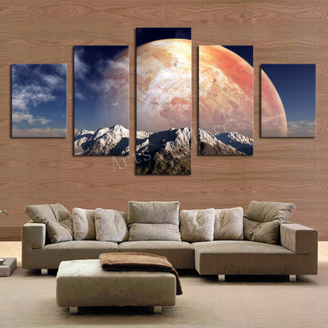 5 Pieces/set Canvas Print Huge HD Red Planet Wall Art Picture For Living  Room