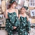 Família combinando pijamas conjunto de correspondência mãe filha pijama para meninas impressão de seda ponto pijamas feminino pijamas crianças 7pcs