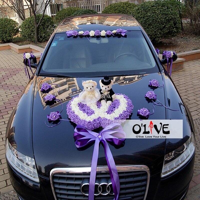 Verbazingwekkend Kunstbloemen bruiloft auto decoratie sets bruiloft decoratie DY-74