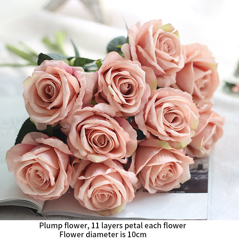 Image 4 - rose silk flowers wedding flowers real touch roses artificial the flowers flores Bouquet Fake vase Flower Home Party Decoration-in Artificial & Dried Flowers from Home & Garden