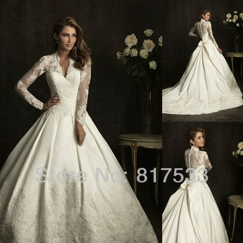 luxury duchess satin modest wedding dress sleeves long sleeve 2013 v neck  white lace ball gown court train bow back applique cdb723ce8d12
