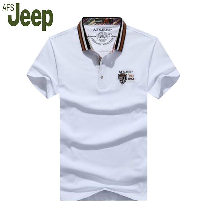 Battlefield Jeep AFS JEEP 2017 summer new short-sleeved polo shirt male lapel loose large size men's cotton polo shirt 45