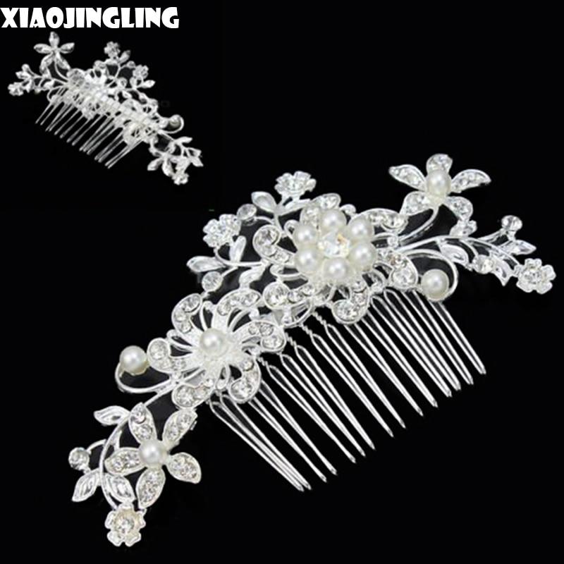 xiaojingling 20styles european design floral wedding hair accessories pearl crystal flower bridal hair comb wedding hair