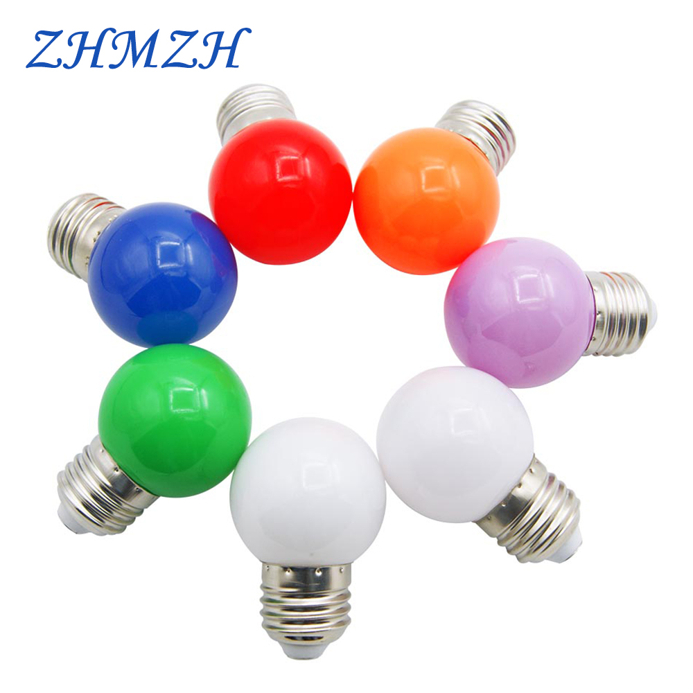 6pcs/lot 220V E27 LED Colorful Bulb SMD2835 Energy Saving Lamp For Party Holiday Decoration 5 Leds Bombillas 7 Colors Led Lights