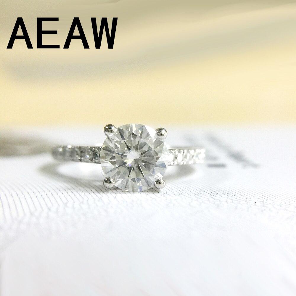 DF Moissanite Diamond 1 CT Engagement Ring with 20pcs side Moissanite Stones in 14K White Gold