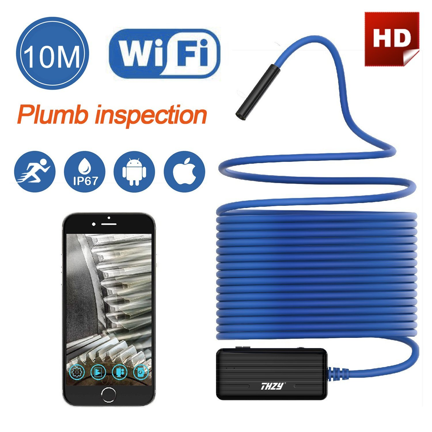 THZY Wireless Endoscope WiFi Borescope Inspection Camera 2.0 Megapixels HD Snake Camera for Android IOS Smartphone, iPhone 10M mool 10m wifi usb waterproof borescope hd endoscope inspection camera for android ios