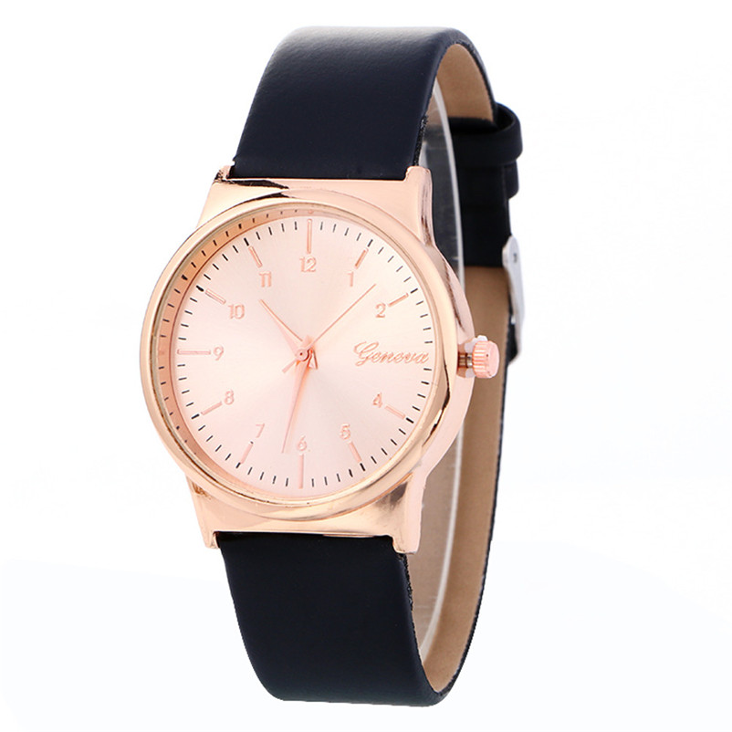 New Simple Fashion Women Watch Clock Faux Leather Rose Gold Dial Analog Quartz Watch Wrist Ladies Casual Watches Reloj fashion casual women watch dreamcatcher dial quartz wrist watch leather dream catcher watch indian style female clock