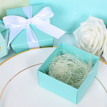 cheap  10pcs Tiffany / Gold Paper Favor Box Gift Box +Ribbon For Baby Shower Wedding Favors Gift package candy Box Supplies