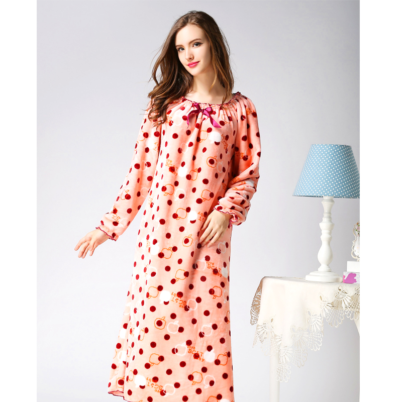 2018 Fashion Autumn Winter Women Nightwear Dress Velvet Long Sleeve ...