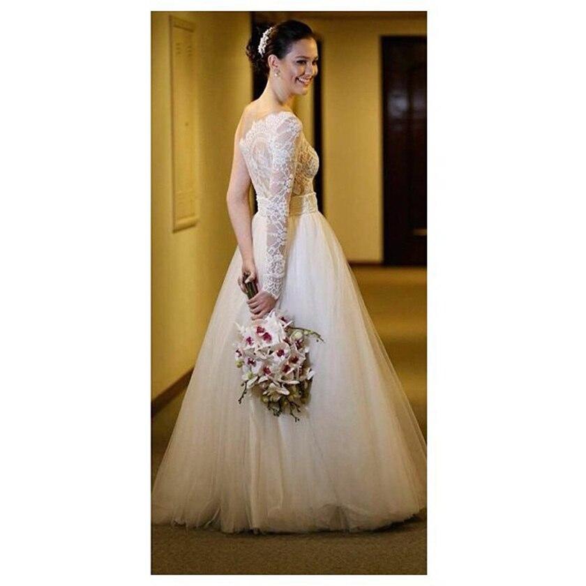 Long sleeve ball gown wedding dresses hot girls wallpaper for One shoulder long sleeve wedding dress