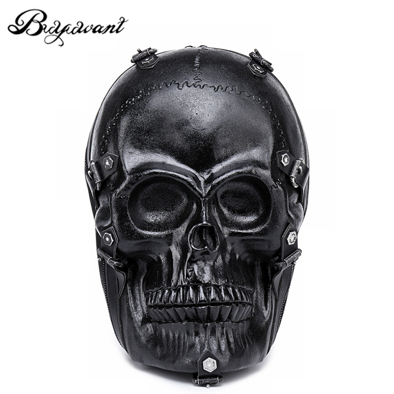 Buyuwant Men s 3D Skull PU backpack Stylish multi function Travel Backpacks Skull Emboss Shoulder Bag