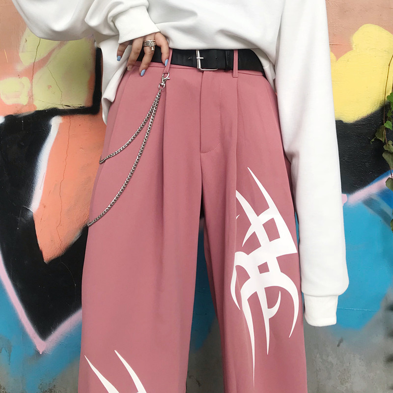 Chain Asymmetry Print Harajuku   Wide     Leg     Pants   Women Autumn Casual Loose Pocket High Waist Trousers Female Bottom