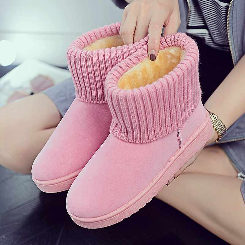 Warm Winter Snow Boots Pink Flat Bottom Round Toe Women Flat Snow Boots Non-slip Fur Women Winter Boots