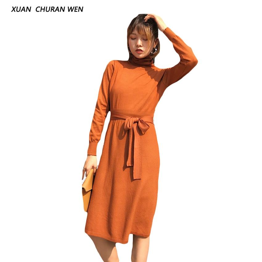 XUANCHURANWEN Warm Women Turtleneck Knitted Dress Long Sweater Dress Autumn Winter Casual Slim Vestidos Belted DK8710