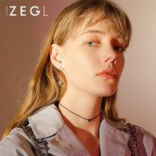 ZEGL asymmetric bow ear pierced clip female long paragraph simple fresh earrings