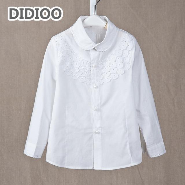 f17ee61eaf9 Белая блузка с длинным рукавом для девочек хлопковые школьные рубашки для  девочек школьная форма с кружевом