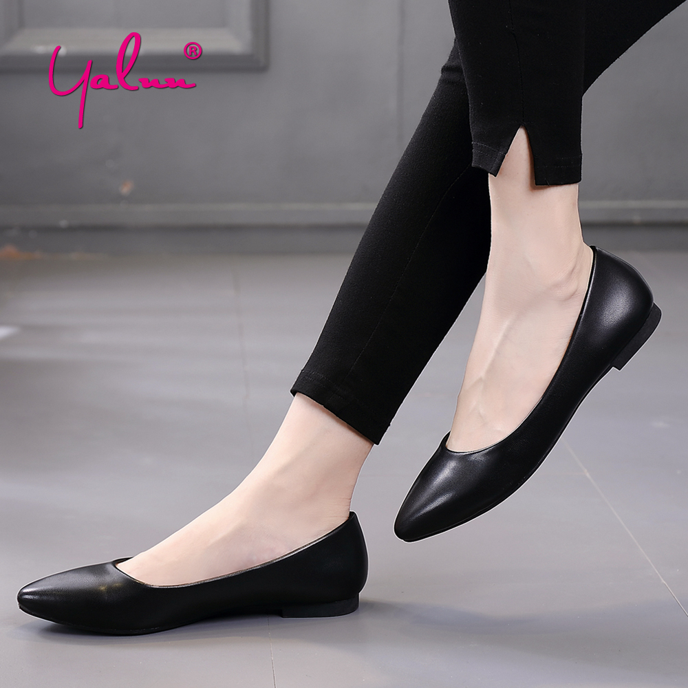 Pointed Toe Flats Shoes Spring Office Work Solid Slip On Shoes for Women Plus Size White Black Casual Shoes Women Flats Leather