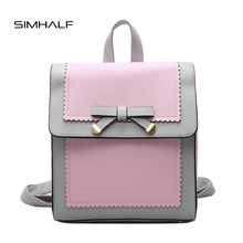SIMHALF Brand 2017 Bow Design Women Leather Backpacks School Bags Mochilas Student Backpack Ladies Women Bags New Package Female