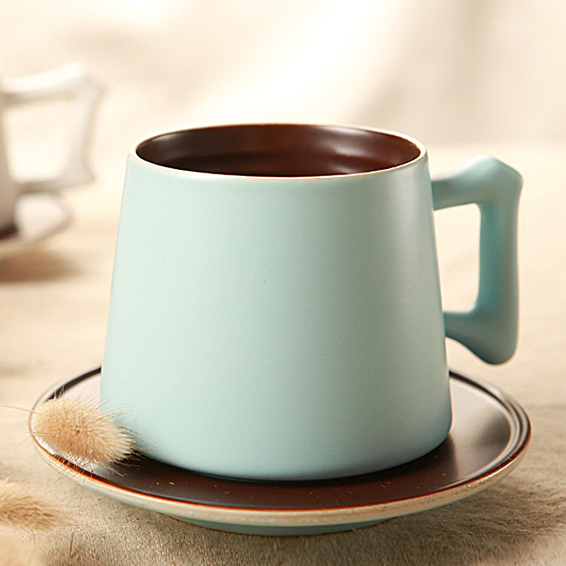 <font><b>Simple</b></font> Hand Made Ceramic Coffee <font><b>Cup</b></font> and Saucer Set High Quality Pour Color Coffee <font><b>Cup</b></font> with Saucer Gift for Friends SH271-14