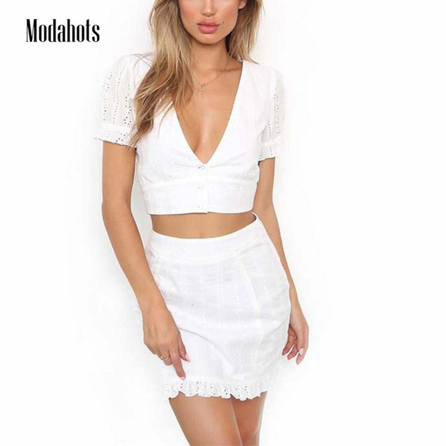 468875aae4 Sexy Two Piece Ruffles Hem Short Sleeve Crop Button Top Bodycon Mini Skirt  Women Summer Vacation Beach Casual White Outfits