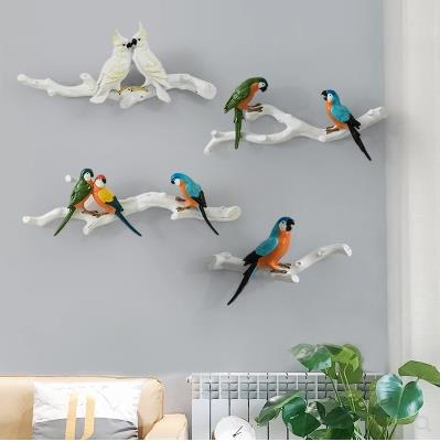 Beautiful three dimensional parrot wall stickers, creative bird wall hanging crafts, home decoration products